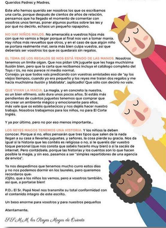 Carta de los Reyes a los padres